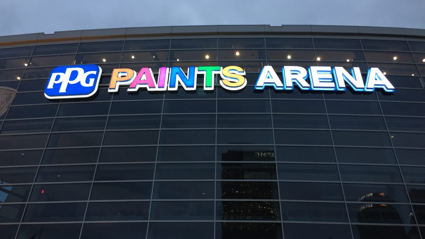 Ppg paints arena gable seeking a permanent solution ppg chose gable to conceptualize manufacture and install new exterior signage around the arena gable was excited to return geenschuldenfo Images